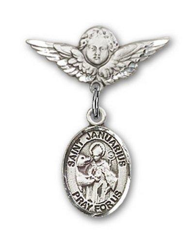 Icecarats Créatrice De Bijoux En Argent Sterling St. Janvier Charme Ange Pin Badge 7/8 X 3/4