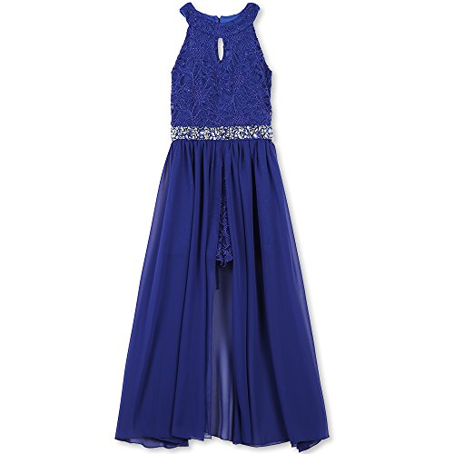 Speechless Big Girls' High Neck Maxi Romper Dress, Royal Blue, 12