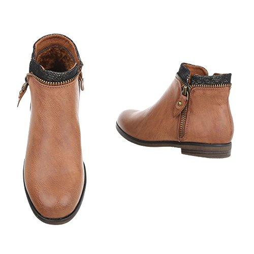 Ital-Design Chaussures Femme Bottes et Bottines Bloc Chelsea Bottes Braun uqMI6ucxzb
