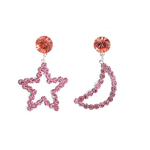 Glamorousky Star & Moon Earrings with Pink Austrian Element Crystals and CZ bead (794) ()