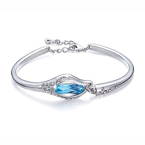 "Alaxy ""Eternal Love"" 7.4 Inches Bangle Bracelet Made with Blue Swarovski Crystal"