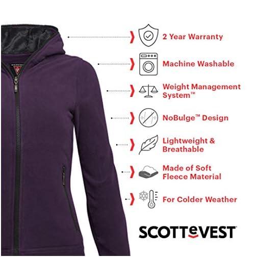 SCOTTeVEST Women's Chloe Fleece Travel Hoodie | 14 Pockets | Anti-Pickpocket |