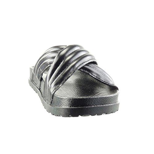Angkorly - Scarpe da Moda sandali infradito donna lines Tacco tacco piatto 2.5 CM - Nero