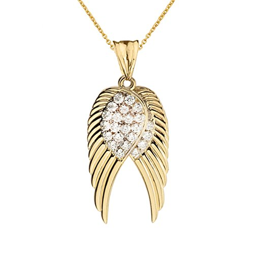 Fine 14k Yellow Gold Diamond Double Angel Wing Pendant Necklace, 20