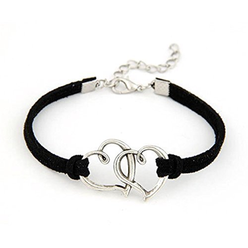 T.Sewing 1PCS Bracelet Double Coeur é lé gant en mé tal Doux Noir