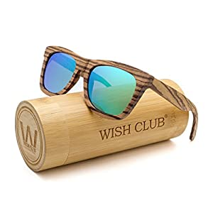 WISH CLUB Wayfarer Polarized Lenses Wood Frame Sunglasses for Women and Men Rimmed Mirrored Wooden Bamboo Eyewear for Unisex Mens Light Round Glasses with Box UV 400 Protection (Green)