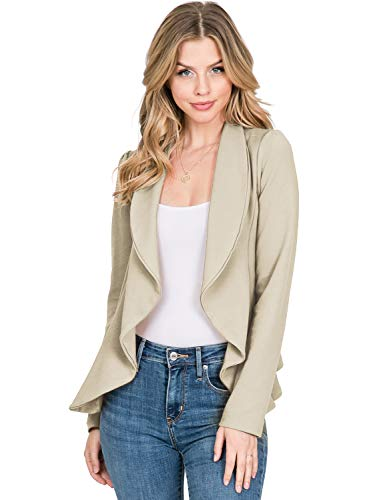 CLOVERY Women's Long Sleeve Open Front Blazer Long Sleeve Slim Fit Work Office Cardigan Jacket, Stone Small