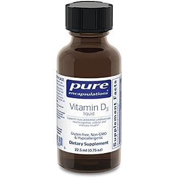 Pure Encapsulations - Vitamin D3 Liquid - Hypoallergenic Support for Bone, Breast, Prostate, Cardiovascular, Colon and Immune Health* - 22.5 ml (0.75 fl oz)