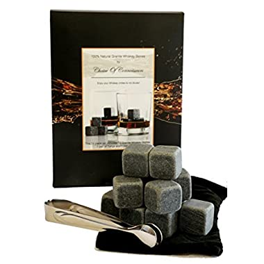Choice of Connoisseurs 12 Reusable Granite Whiskey Ice Cubes Stones with Velvet Pouch and Tongs Gift Box Set