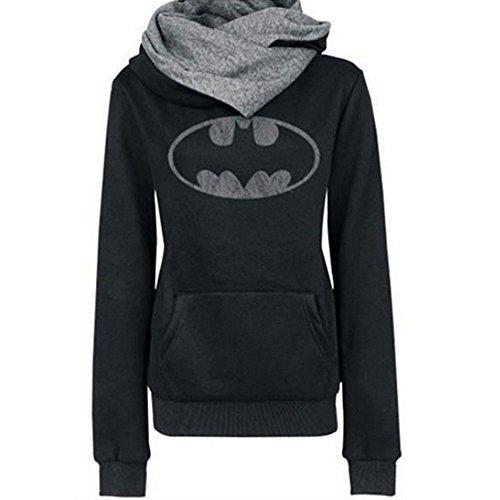 Shilanmei Women Cotton Long Sleeve Coat Top Tees Batman Hoodies -