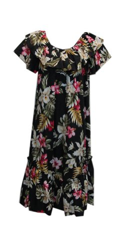 Jade Fashions Inc. Women Hawaiian Short Double Ruffle Black Orchid Muumuu-Black-2XL (Ruffle Muumuu)