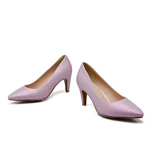 BalaMasa donna Fashion cono-figura tacco a punta Imitated Leather pumps-shoes, Viola (Purple), 35 EU