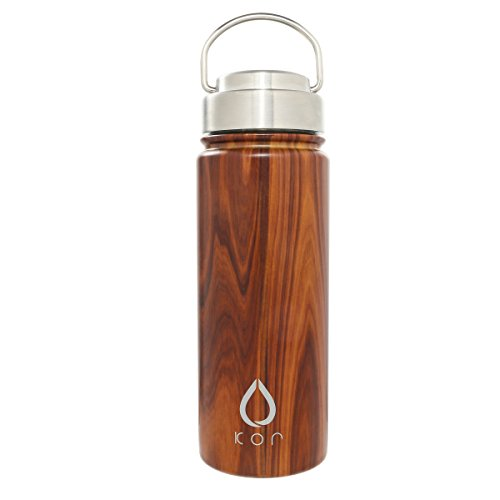 KOR ROK Double-Wall, Stainless Steel Water Bottle - Vacuum Insulated, Plastic-Free, Temperature Controlled, Keeps Cold 24hrs Warm 12hrs. Leak & Sweat Proof (Polished Oak)