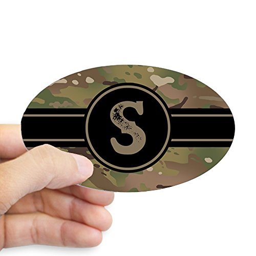 CafePress - Army Camouflage Monogram: Letter S - Oval Bumper Sticker, Euro Oval Car Decal