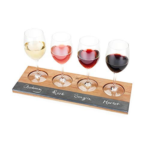 (Twine Rustic Farmhouse Acacia Wine Wooden Flight Board)
