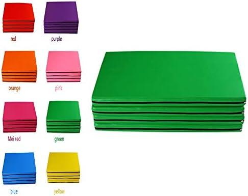 スポーツマット ストレッチマット プラス厚い ダンスマット 練習用マット 腹筋運動 滑り止め レザー 防水 柔らかい パールコットン、 4パネル、 8色 GUORRUI (Color : D, Size : 90x240x5cm)