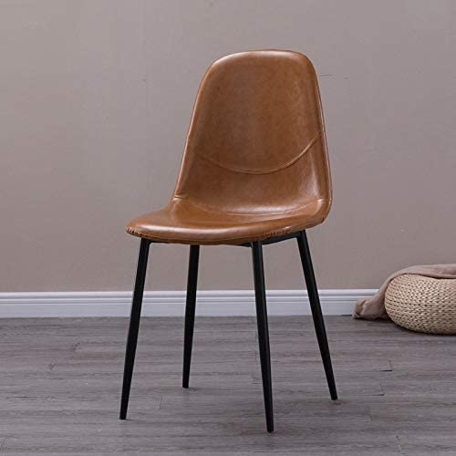 Chaise corticale haut de gamme moderne chaise de salle en cuir chaise de style européen Artistic Iron - ORANGE
