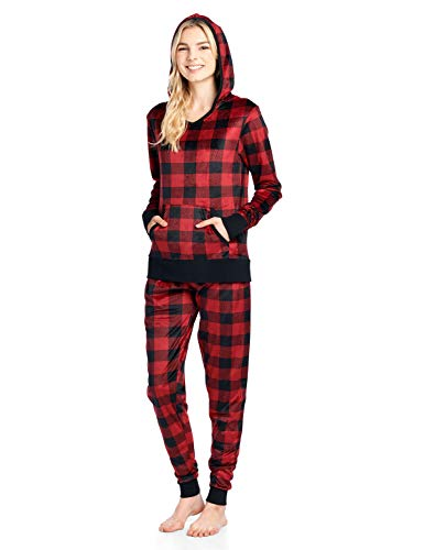 Ashford & Brooks Women's Mink Fleece Hoodie Pajama Set - Red Buffalo Check - Medium