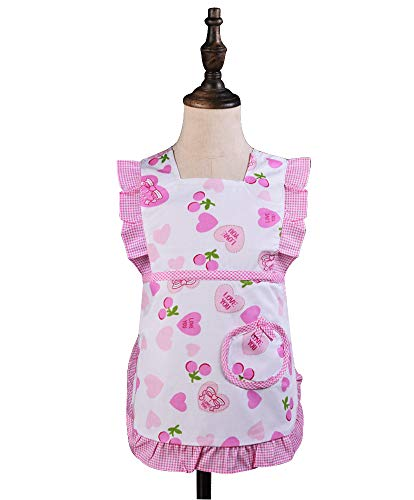 Love Potato Cute Heart Pattern Ruffles Cotton Children Apron Great Gift for Kids Toddler Little Girls (1 to 2 Years Old, Pink)