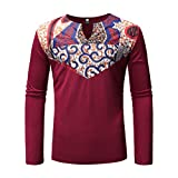 F_Gotal Shirt for Mens, Men's Luxury African Print Long Sleeve Dashiki Shirt Big and Tall Slim Fit Tees Blouse Tops T-Shirt Red