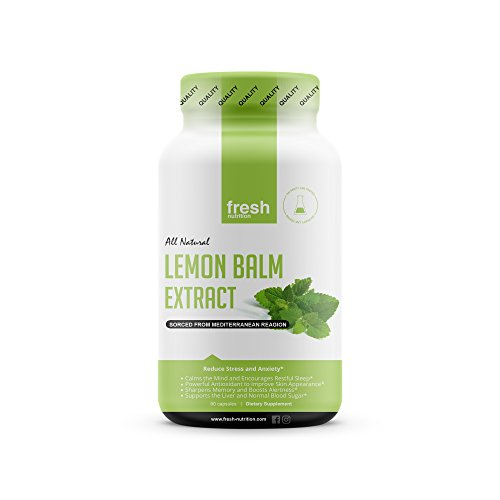 Lemon Balm Extract Capsules - Strongest 600mg Servings - Calms, Improves Skin, Sleep, Memory, Alertness, Anxiety, Stress, Appetite, Indigestion ()