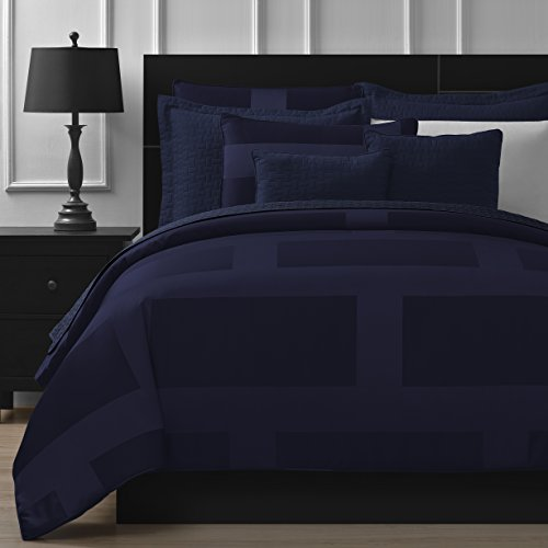 Comfy Bedding Frame Jacquard Microfiber King 8-piece Comforter Set, Navy Blue
