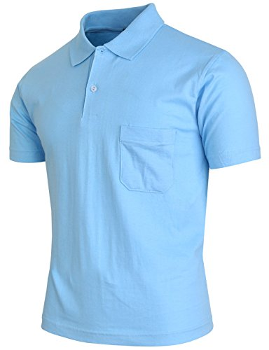 One Chest Pocket (BCPOLO Men's Polo Shirt Short Sleeve 1 Chest Pocket Solid Cotton Polo Shirt SkyBlue-L)