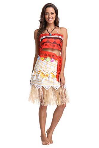 Adult Polynesian Costumes Skirt (Quintion Anneao Kids Women's Adventure Outfit Polynesian Dress Halloween Costumes with Necklace XL)
