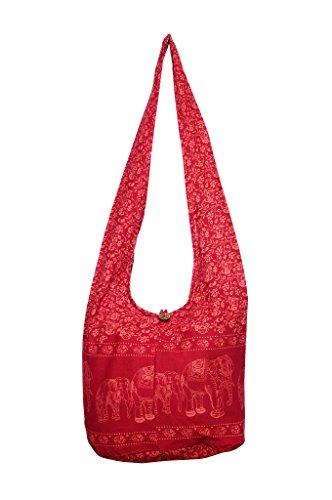Avarada Cotton Hippie Hobo Sling Shoulder Bag Bohemian Bag Print Elephant Red