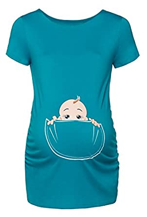Happy Mama. Womens Maternity Baby in Pocket Print T-shirt
