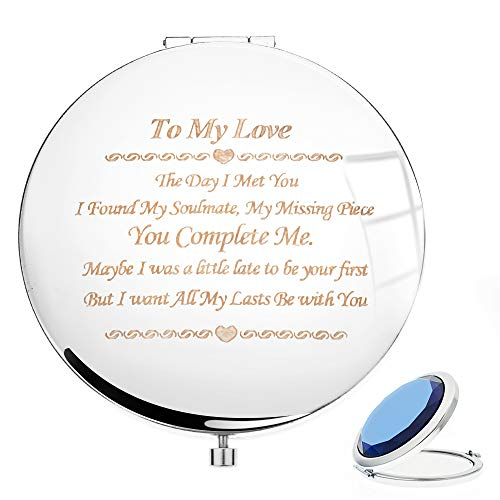 Si-Beauty Romantic Girlfriend Gift from Boyfriend, Engraved Personalized Mantra Compact Travel Mirror, Gift Idea for Birthday, Valentine & Anniversary (Images Of Missing My Best Friend)