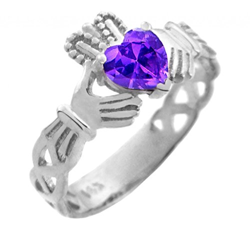 14K White Gold Celtic Knot Band Claddagh Ring with Purple CZ Heart