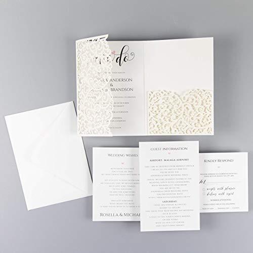 Diy Invitation Kits (Ivory Wedding Invitations with Envelopes Elegant Lace Invitation with template Laser cut printable DIY Kit - PRE-PRINTED)