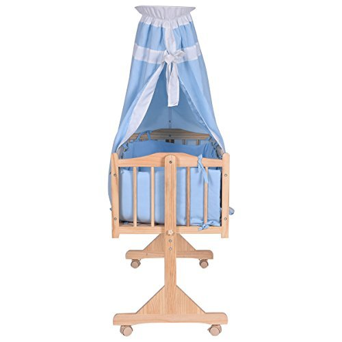 Wood Baby Cradle Rocking Crib Newborn Bassinet Bed Sleeper Portable Blue by Unknown (Image #3)