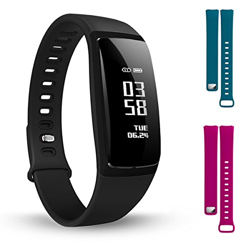 Hotyet Smart Watch Fitness Tracker Band , Blood Pressure Heart Rate Monitor , Female Physiological Cycle Reminders , 3 Colors Wristband , Multiple Alarm Clocks with Icon , for IOS Android