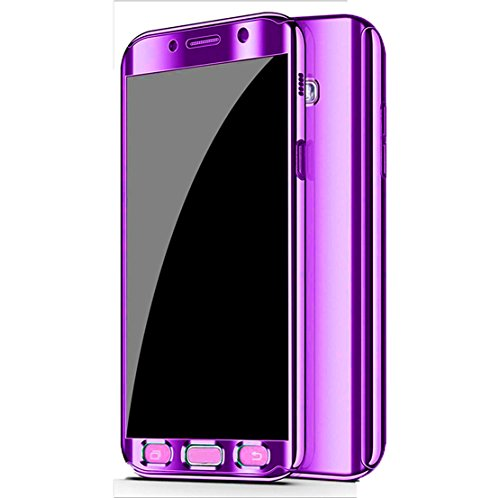 Galaxy Note 9 Case, Ultra Slim Electroplate 360 Degree Full Body Protection Mirror Case with Tempered Glass Screen Hard PC Protector for Samsung Galaxy Note 9 (Purple)