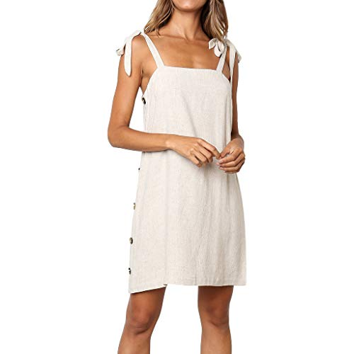 - Womens Sexy Buttons Sleeveless Dress Princess Dress Off The Shoulder Maxi Dresses Summer Strapless Dress(White,M)
