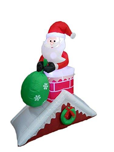 5 Foot Tall Christmas Inflatable Santa Claus on Chimney Roof Yard (Disney Halloween Airblown Inflatables)
