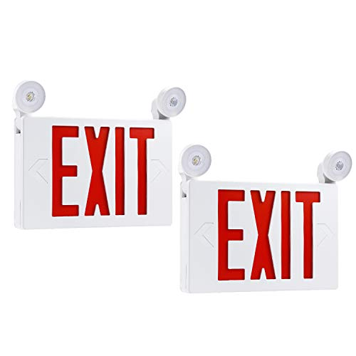 (TORCHSTAR Red LED Exit Sign with UL Listed Emergency Light, AC 120V/277V, Battery Included, Top/Side/Back Mount Sign Light, for Hotels, Restaurants, Shopping Malls, Hospitals, Pack of 2)