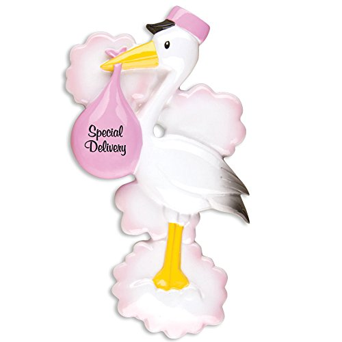 First Christmas Stork Ornament - PERSONALIZED CHRISTMAS ORNAMENTS BABY'S FIRST--STORK-PINK