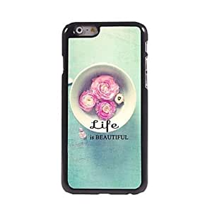 PEACH Life is Beautiful Pattern Aluminum Hard Case for iPhone 6 Plus