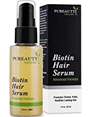 Biotin Hair Growth Serum Advanced Topical Formula To Help Grow Healthy, Strong Hair Suitable for Men and Women of All Hair Types Hair Loss Support By Pureauty Naturals (Pack of 1)