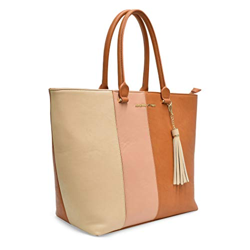Adrienne Vittadini Strip Smooth Pu Collection Tote Cognac