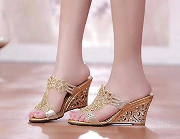 Summer fashion femmes pantoufles sandales chaussures diamant maille poisson bouche glisser sandales pantoufles kUFfBda
