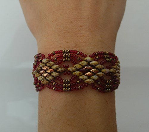 Beaded Jewelry, Bead Woven Bracelet, Super Duo Beads, Miyuki Seed Beads, Red and Bronze, Magnetic Clasp, Mother's Day Gift, Gift for Her