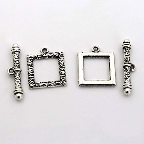 Laliva Accessories - 10Sets/lot Gold Antique Silver Square Metal Connector Hook OT Clasps Toggle for Jewelry Finding DIY Bracelet Chain Accessories - (Color: Antique Silver)
