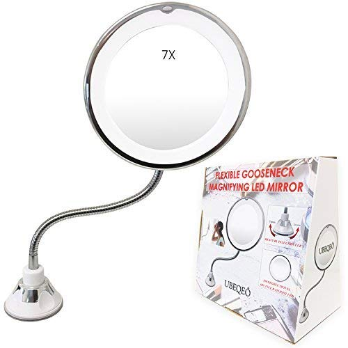 UBEQEÔ 7X or 10X Magnifying Makeup Mirror with Light | Adjustable Gooseneck -