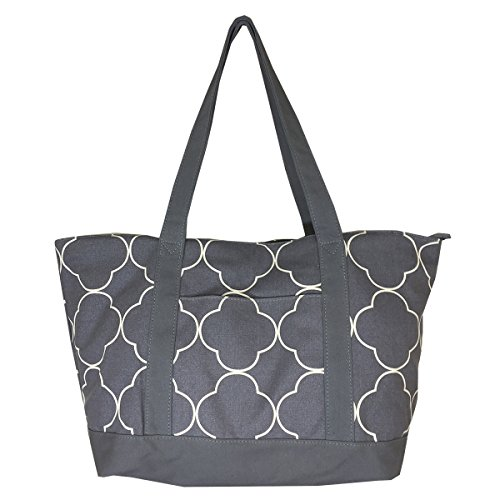 (NEW! High Quality Zippered Pattern Prints X-Large Roomy Canvas Tote Bag)