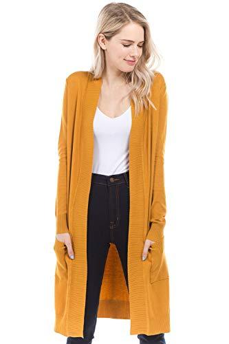 Urban Look Women's Long Sleeve Classic Open Front Knit Long Cardigan (Medium, Mustard) ()