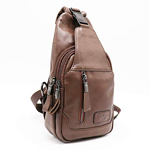 - 2019 High Quality New Men Genuine Leather Skin Messenger Shoulder Cross Body Bag Vintage Travel Male Man Sling Chest Day Pack (Light Brown Color)